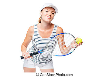 Isolated portrait of a young tennis player on a white background