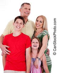 Isolated portrait of happy family