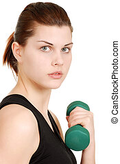 portrait young woman exercising