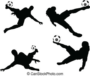 poses of soccer players silhouettes in air position