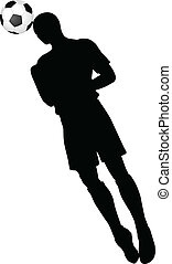 poses of soccer players silhouettes in head strike position