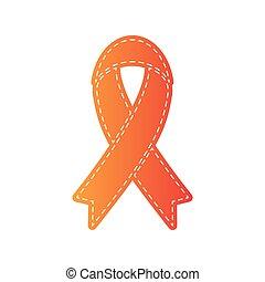 isolated., poznaczcie., applique, czarnoskóry, wstążka, pomarańcza, świadomość