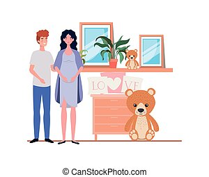 Isolated pregnant woman and man design
