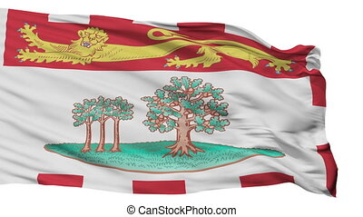 Prince Edward Island flag, city of Canada, realistic animation isolated on white seamless loop - 10 seconds long (alpha channel is included)