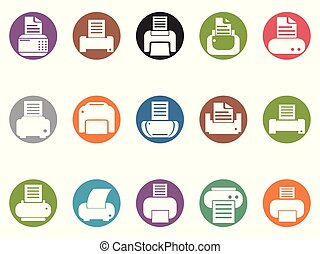 printer round button icons set