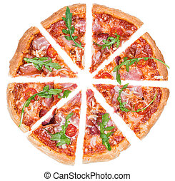 (isolated), prosciutto, casalingo, pizza