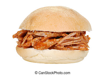 isolated pulled pork sandwich on white background