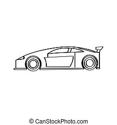 Isolated racing car icon. Side view