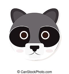 Isolated racoon face - Isolated cute racoon face on a white...