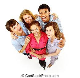 isolated., radosny, ludzie., grupa, młody