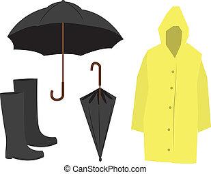 Isolated Rain Equipment including raincoat, umbrella and boots