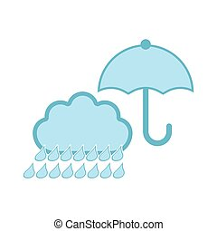Isolated rainy weather icon with an umbrella