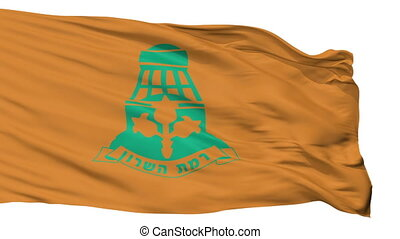Isolated Ramat HaSharon city flag, Israel - Ramat HaSharon...