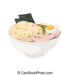 Isolated ramen soup.