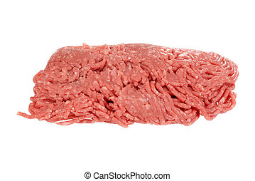 isolated raw ground beef on white
