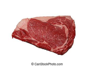 isolated raw rib-eye steak