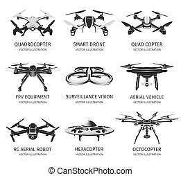 Isolated rc drone logo collection on white. UAV technology...