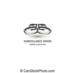 Isolated rc drone logo on white. UAV technology logotype. Unmanned aerial vehicle icon. Remote control device sign. Surveillance vision multirotor. Vector quadcopter illustration.