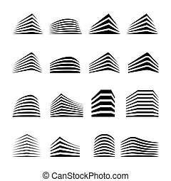 Isolated real estate logo collection. Building color icon. Rent agency logo set. Architecture icon. Construction development agency logo. CIty neighborhood logotype.