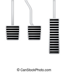 illustration of car pedals - Isolated realistic illustration...