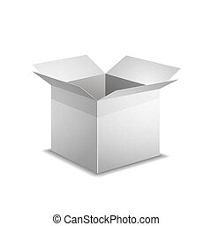 Isolated realistic open white box with shadow