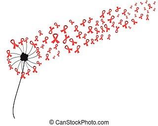red AIDS ribbon dandelion