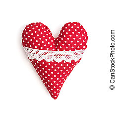 Isolated red and white valentine heart of cloth