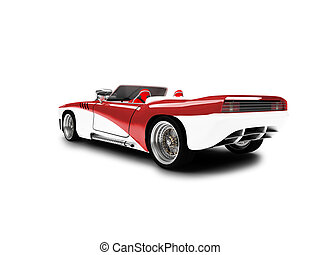 isolated red car back view 01