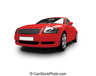 isolated red car front view - isolated sport car on white...