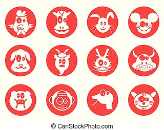 red cartoon cute chinese zodiac button icons set