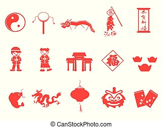 red chinese new year icons set