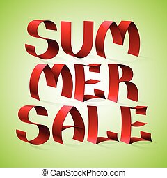 Isolated red color shiny ribbon letters words SUMMER SALE on gre