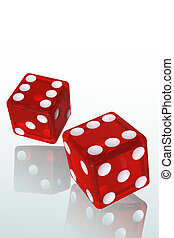 Red Dice - Isolated Red Dice 3D Illustration (with clipping...