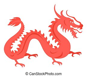 Isolated Red Dragon on White. Chinese Symbol. - Isolated red...