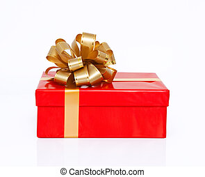 Isolated red gift box with a gold bow on a holiday