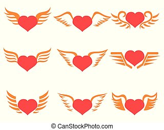 red heart wings icons set