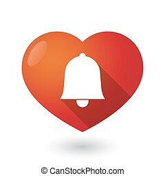 Isolated red heart with a bell