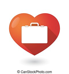 Isolated red heart with a breiefcase