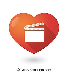 Isolated red heart with a clapperboard