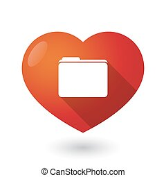 Isolated red heart with a folder