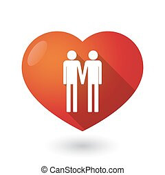 Isolated red heart with a gay couple pictogram