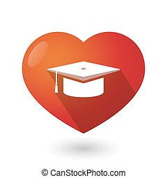 Isolated red heart with a graduation cap