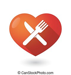 Isolated red heart with a knife and a fork