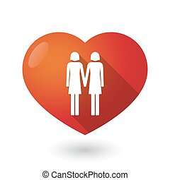 Isolated red heart with a lesbian couple pictogram