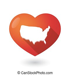 Isolated red heart with  a map of the USA