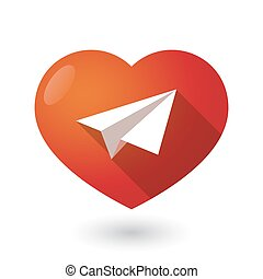 Isolated red heart with a paper plane