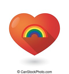 Isolated red heart with a rainbow