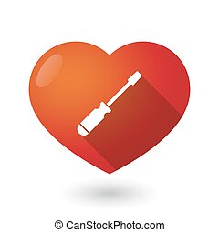 Isolated red heart with a screwdriver