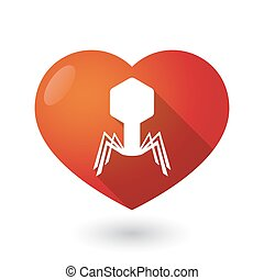 Isolated red heart with a virus