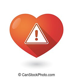 Isolated red heart with a warning signal